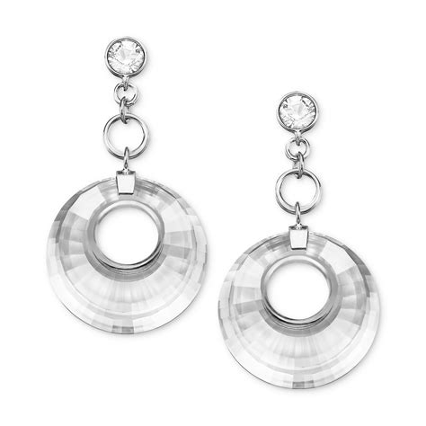 Earrings Dots Swarovski Silver Rhodium swarovski rhodium plated pleated circle cut drop earrings in silver no color lyst