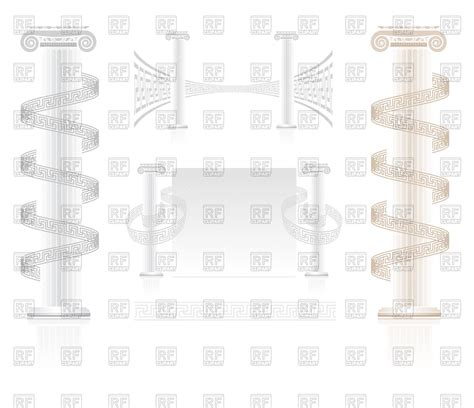 download key pattern ionic column with greek key pattern vector clipart image