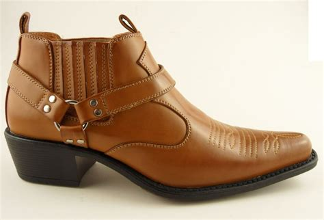 mens ankle cowboy boots mens us brass brown cowboy western ankle stirrup pull