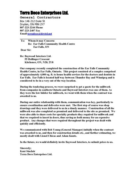 Support Letter For Community Project Letters Of Recommendation Baywood Interior Millwork