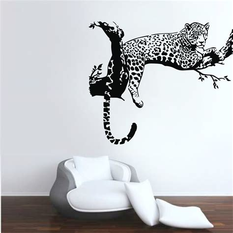 wall sticker decal leopard animals wall stickers vinyl wall decals room home decor removable ebay