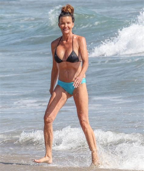 celebrities over 50 in bathing suits supermodel janice dickinson enjoys a day at the beach in