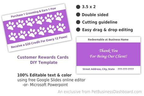 Diy Customer Rewards Card Template Pet Business Dashboard Groomers Advertising Templates Customer Rewards Program Template