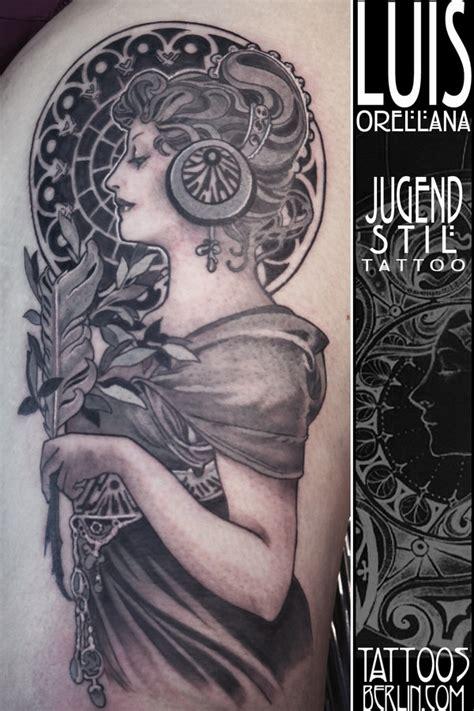 art nouveau tattoo alphonse mucha by mojoncio on deviantart
