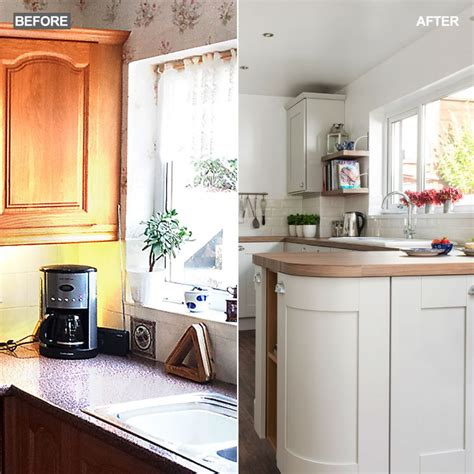 before and after light and airy coastal inspired kitchen