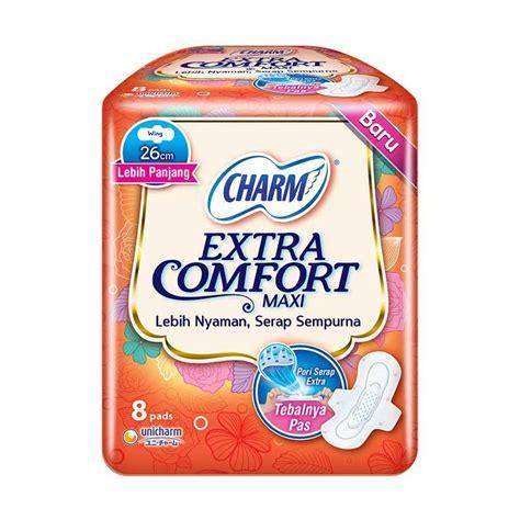 Charm Maxi Isi 10 Pads jual charm comfort maxi wing pembalut wanita 8 pads