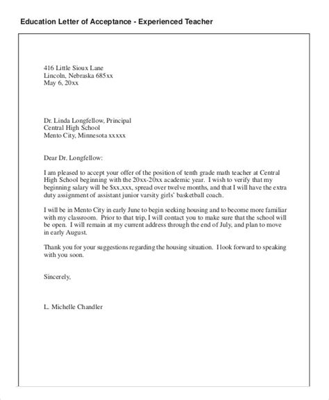 Acceptance Letter Employer letter of employment acceptance
