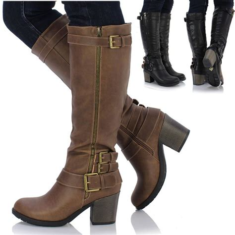female biker boots with heels new ladies women chunky block heel knee high leather style
