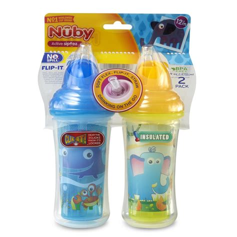Nuby Flip It Handle Straw Cup 270ml nuby 2 pack flip it flex straw sippy cups kmart