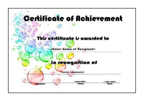 free printable certificate of achievement template certificates of achievements certificate templates