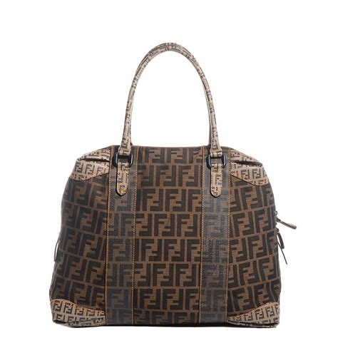Fendi B Mix Large Tote by Fendi Canvas Spalmati Zucca B Mix Large Tote Tobacco 94375