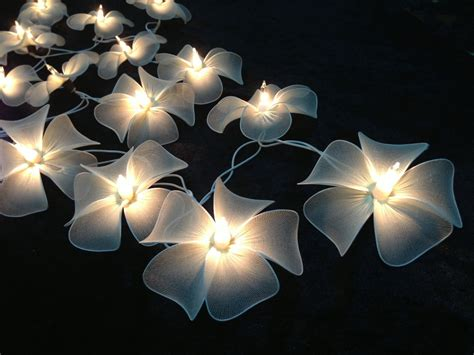 Patio Lights Flower Handmade White Flower String Lights For Patioweddingparty