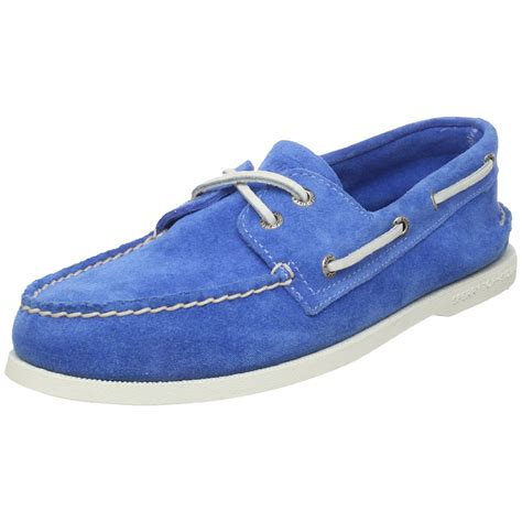boat shoes blue sperry top sider ao suede boat shoe in blue for men lyst