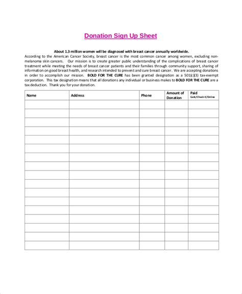 Donation Sheet Template by Sle Donation Sheet Filename Donationform Jpg Donation