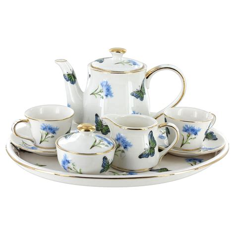 Home Decorated For Christmas by Childrens Tea Set 10 Pcs Blue Butterfly