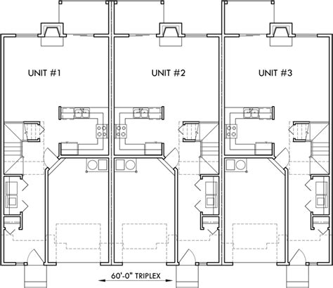 Triplex House Plan, Townhouse With Garage, Row House, T 414