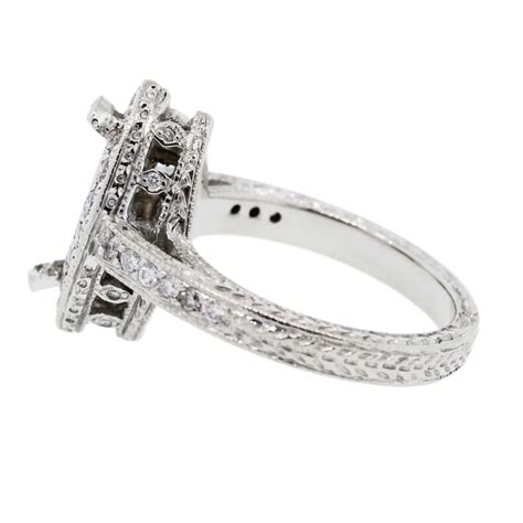 18k white gold with white pink engagement ring