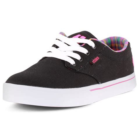 etnies 2 womens canvas black pink trainers new