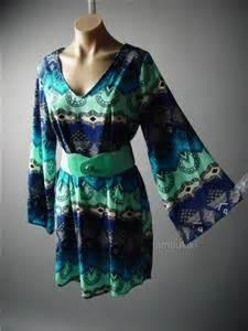Mini Dress Baju Terusan Import Original Tribal Pattern L 60s ethnic moroccan tribal print wide belt kimono sleeve shift 82 mv dress m l ebay