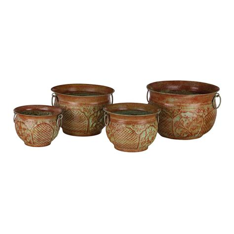 regal rund regal metal planters green moroccan set of 4