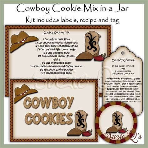 printable cookie jar labels make your own cowboy cookie mix in a jar label tag and