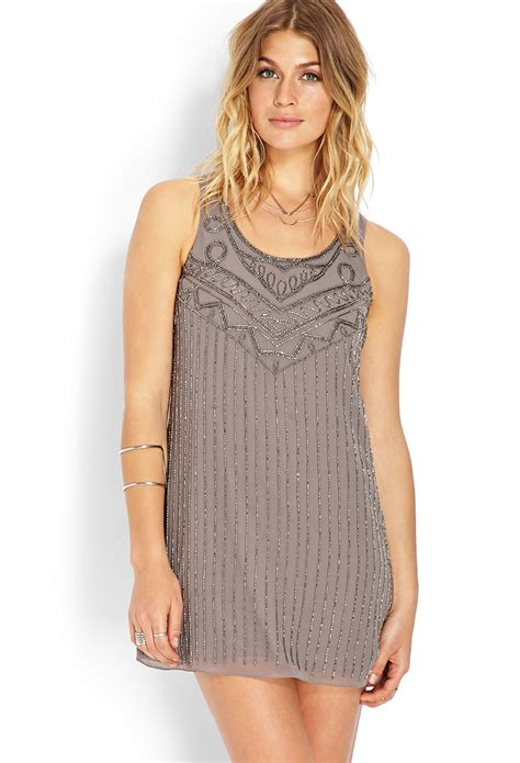 beaded shift dresses forever 21 nouveau beaded shift dress in gray lyst