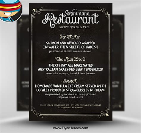 Free Chalk Board Menu Psd Flyer Template Flyerheroes Menu Poster Template Free