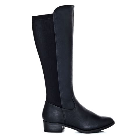 low cuban heeled knee length gusset boot