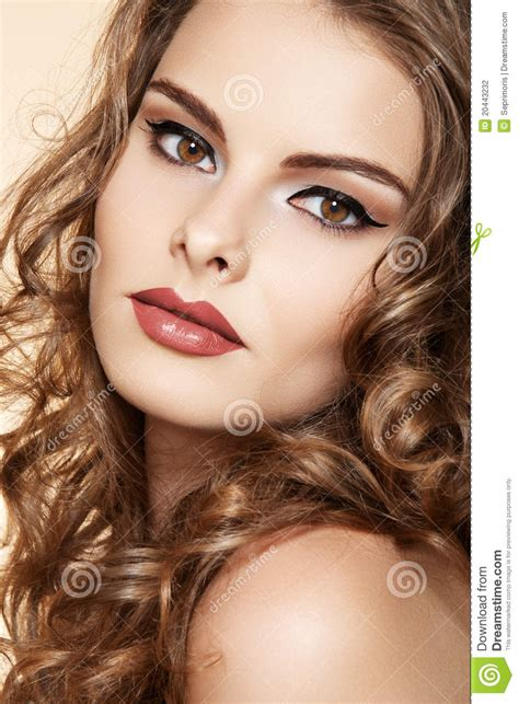beautiful model hair and make up beautiful woman model with makeup long curly hair stock