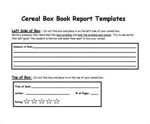 cereal box biography template www book report forms