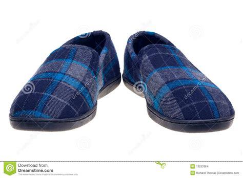 white slippers blue tartan slippers isolated on white stock photo image