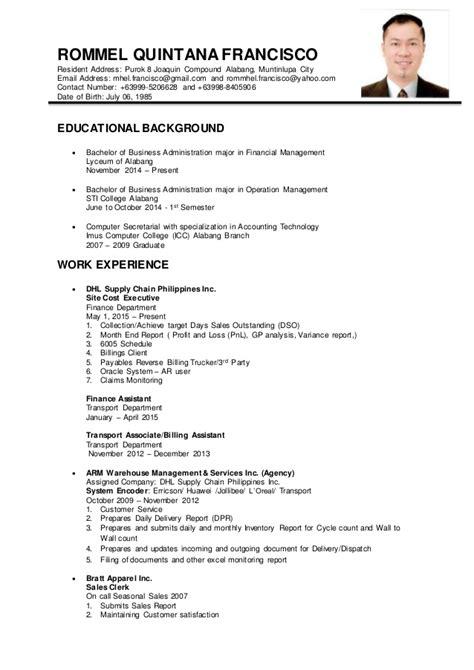 sle of resume in philippines rommel francisco resume