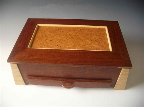 Handcrafted Wooden Box - handcrafted wood box and contemporary jewelry box in one