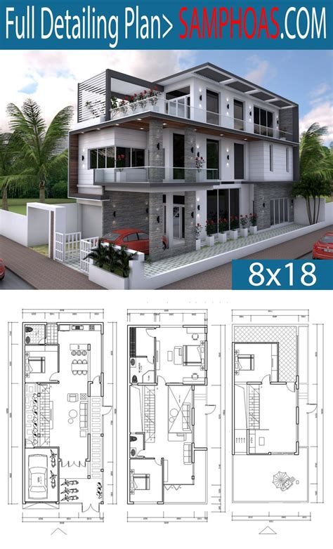sketchup  bedrooms home design plan xm villas home