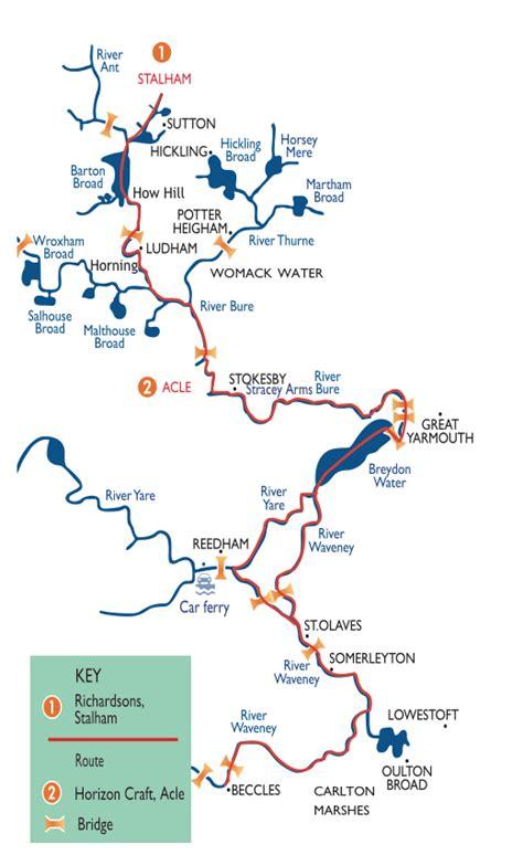 broad river map robert richardson s original broads boating route