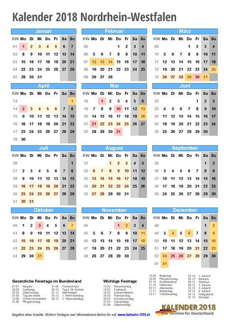 Jahreskalender 2018 Nrw Kalender 2018 Nrw Zum Ausdrucken 171 Kalender 2018