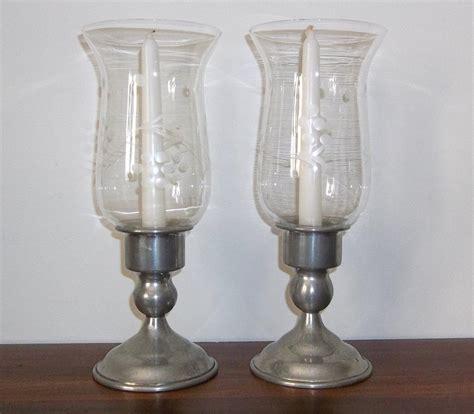 Hurricane Candle Holders Vintage Kirk Pewter Candle Holders With Etched Glass Hurricane