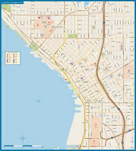 Downtown Map Seattle Downtown Map Digital Vector Creative