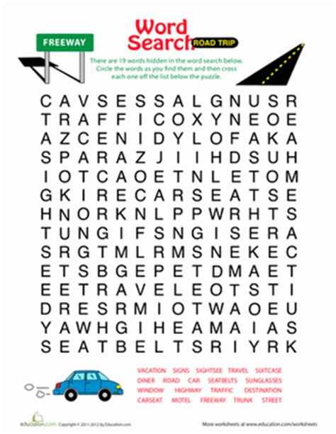 printable road trip word search word search for kids road trip worksheet education com