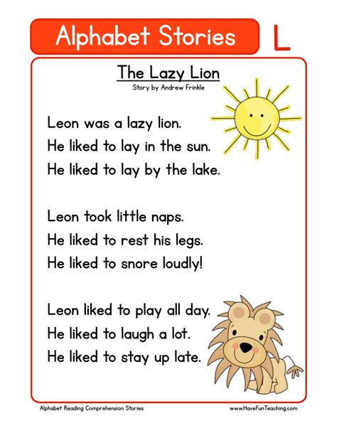 The L From The Story by Kindergarten Reading Comprehension Worksheet Alphabet Stories L