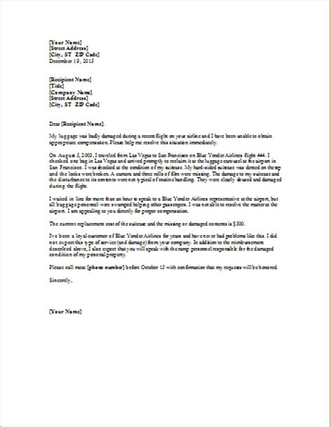 Complaint Letter About Exle Complaint Letter About Damaged Luggage Word Excel Templates