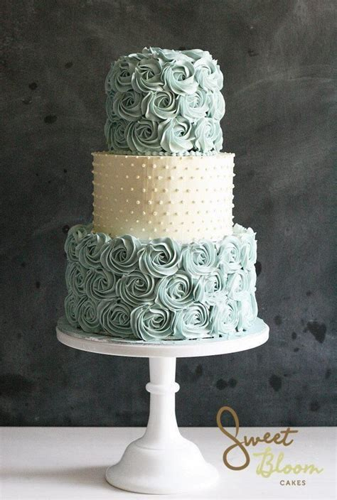 Beautiful blue rosette and white pearl decorated wedding