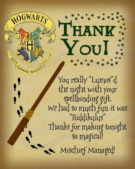 harry potter birthdays card template printable thank you card harry potter inspired with