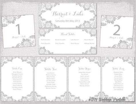 Wedding Seating Chart Template Silver Gray Quot Antique Lace Quot Printable Wedding Table Plan Cards Wedding Seating Chart Template Printable