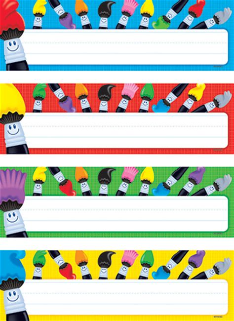 name tag design for preschool colortime paintbrushes name plates variety pack 4 designs