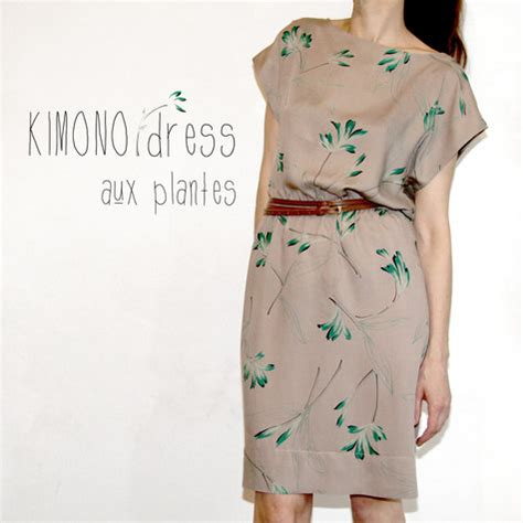 pattern for kimono dressing gown kimono dress with plants sewing projects burdastyle com