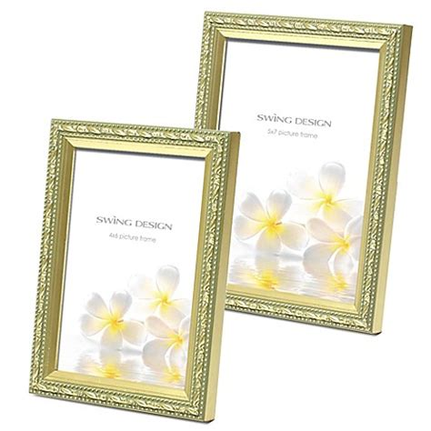 swing design picture frames swing design mercer wood picture frame in gold bed bath