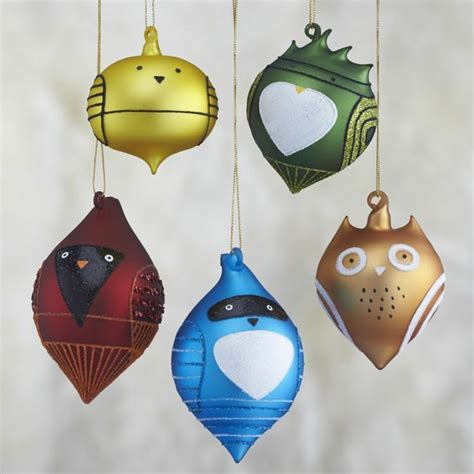 glass bird ornaments for trees set of 5 glass bird ornaments