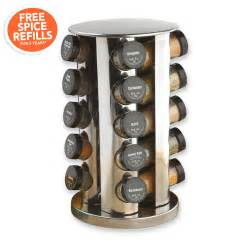 Carousel Spice Racks Kamenstein 20 Jar Filled Revolving Stainless Steel Spice