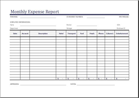 monthly expense report template for excel expense report
